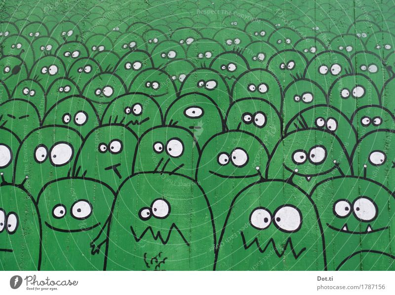 monsterization Wall (barrier) Wall (building) Funny Crazy Green Joy Monster Graffiti Street art Drawing eyes Face Many Extraterrestrial being Figure Tagger