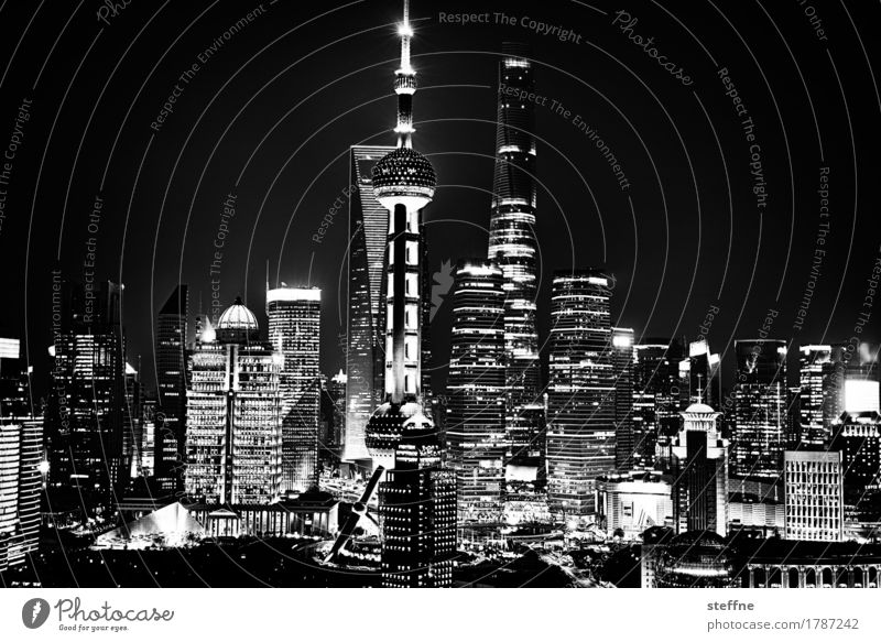 Rising high (Shanghai) Town Skyline Overpopulated High-rise Pu Dong China Growth Capitalism Long exposure Night shot Energy Light Black & white photo