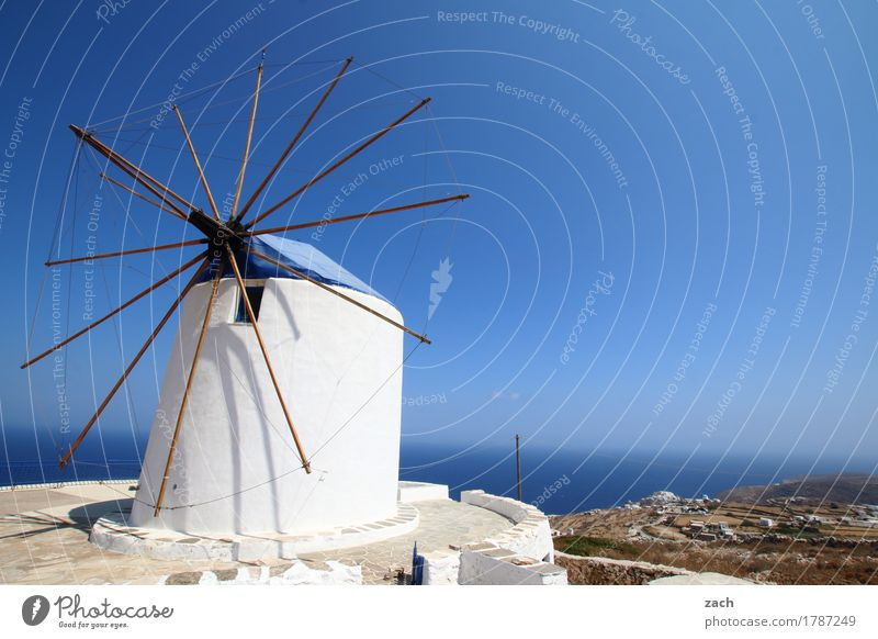 Waiting for Don Quixote Nature Cloudless sky Beautiful weather Coast Ocean Mediterranean sea Aegean Sea Island Cyclades siphnos Sifnos Greece Village Old town