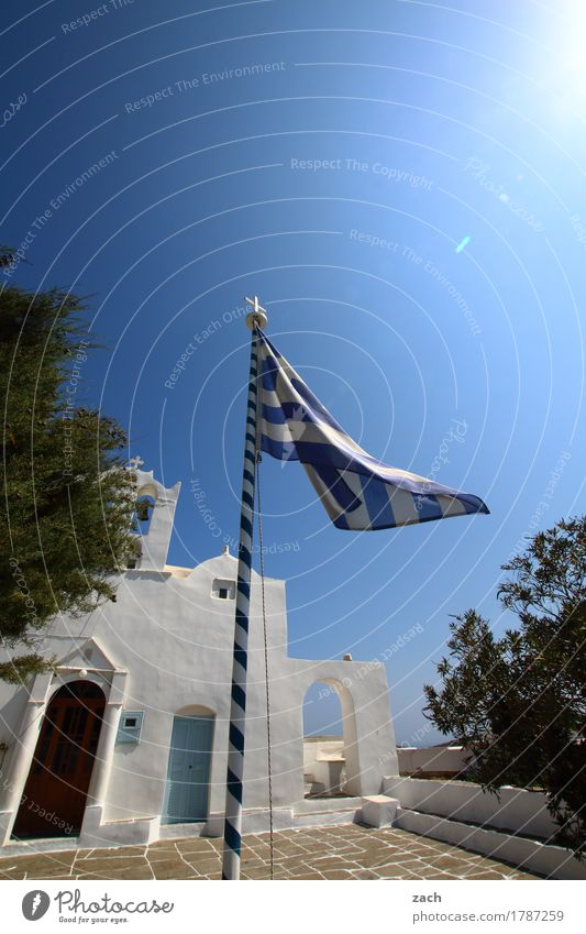 Vacation & Travel Plant Blue White Sun Tree Ocean Religion and faith Door Church Island Belief Flag Cloudless sky Terrace Politics and state