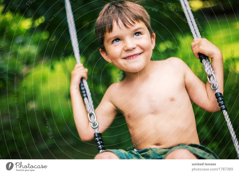 FF# swung up Art Work of art Esthetic To swing Swing Child Infancy Kindergarten Childhood memory Parenting Childlike Foolproof Upward Funster Brash Green Summer