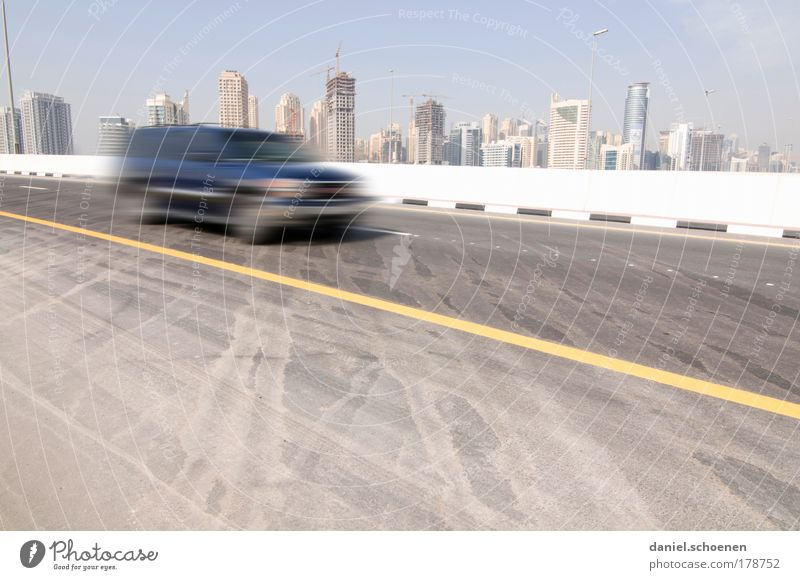 Dubai Copy Space bottom Copy Space middle Day High-rise Transport Road traffic Motoring Street Car Concrete Movement Speed Society Vacation & Travel Growth