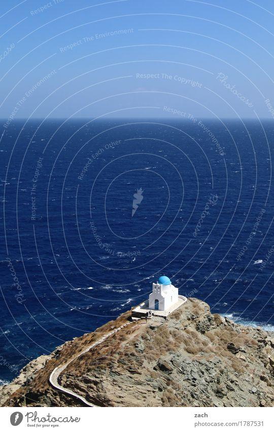 Vacation & Travel Blue Summer Water Ocean Religion and faith Coast Rock Stairs Waves Church Island Belief Summer vacation Mediterranean sea Greece