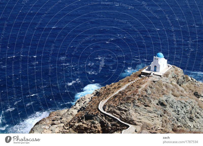 Last resort Vacation & Travel Summer vacation Water Rock Waves Coast Ocean Aegean Sea Mediterranean sea Island Cyclades siphnos Sifnos Greece Religion and faith