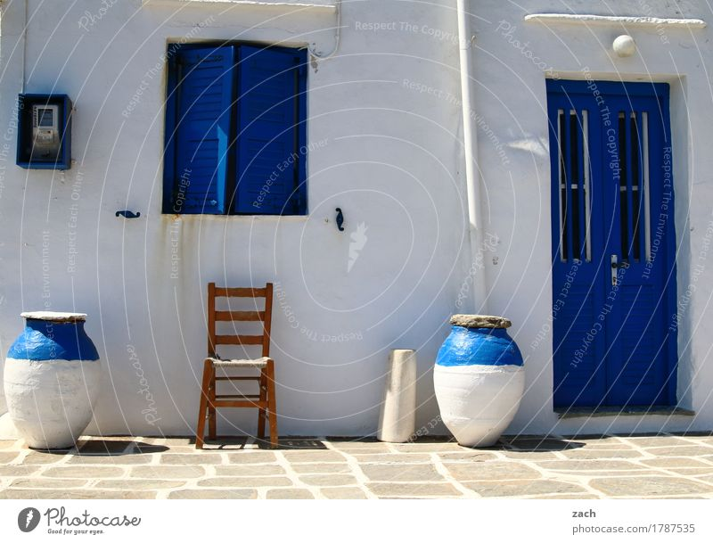 seating Pot Chair Greece Aegean Sea Cyclades House (Residential Structure) Wall (barrier) Wall (building) Facade Terrace Window Door Sit Blue White Colour photo