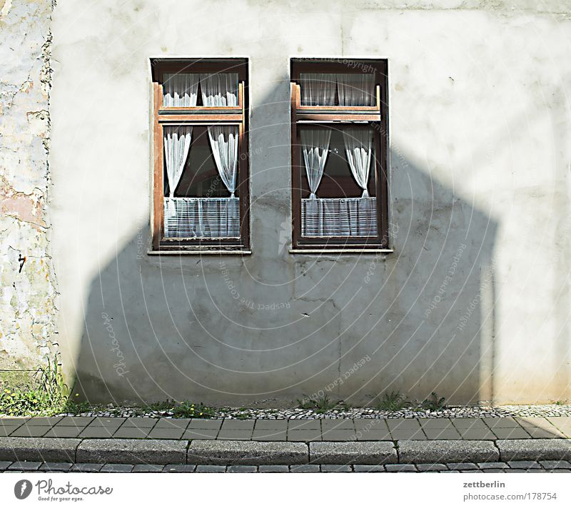House (Residential Structure) Street Window Wall (building) Couple Facade In pairs Sidewalk Curtain Window pane Copy Space Slice Front side Town Side by side