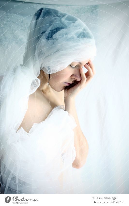 Woman Human being Youth (Young adults) White Loneliness Feminine Dream Sadness Moody Art Adults Grief Esthetic Uniqueness Stage play Whimsical
