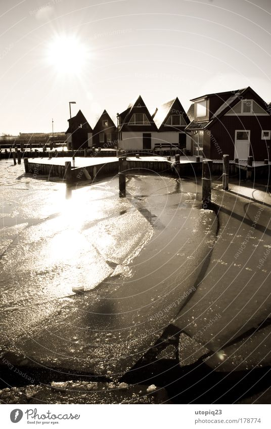 built close to the water Landscape Elements Water Sunlight Winter Beautiful weather Ice Frost Coast Bay Baltic Sea Lake Fishing village Deserted Hut Calm
