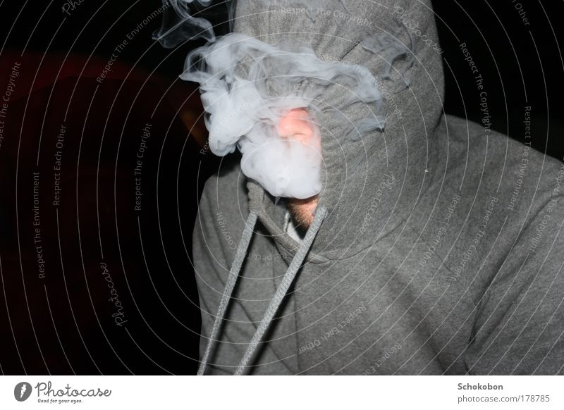 we be burnin' Human being Masculine Nose Facial hair 1 Sweater Hooded (clothing) Smoke Smoking Exceptional Black White Contentment Lust Drug addiction Identity