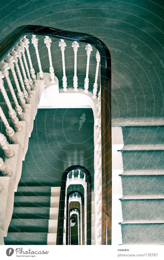 downstairs Colour photo Interior shot Day House (Residential Structure) Green Stairs Staircase (Hallway) Handrail Carpet Old Retro Vintage Tall Go up Vertical