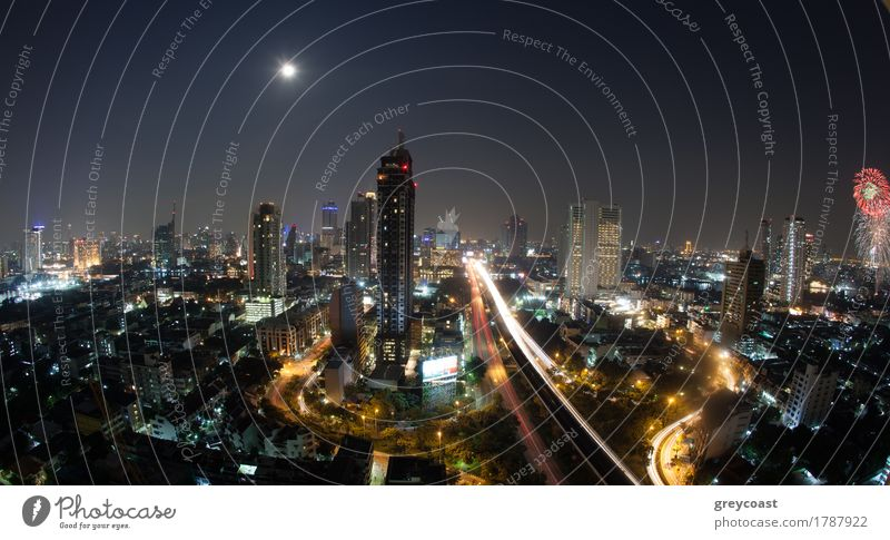 City panorama of Bangkok at night, Thailand Moon Town High-rise Building Architecture Transport Street Highway Movement Modern Vantage point Illuminate Asia
