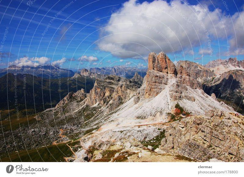 dolomites monte averau Exterior shot Deserted Forward Environment Nature Landscape Sky Clouds Sun Summer Beautiful weather Rock Mountain Peak Joy
