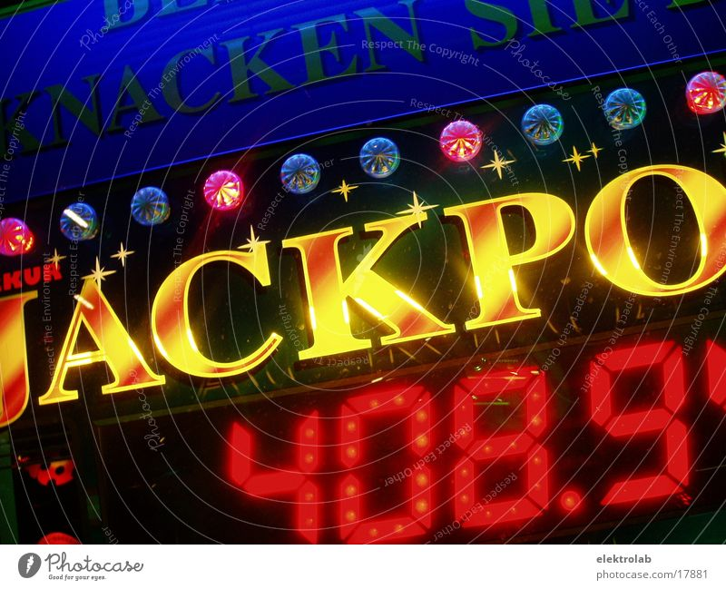 jackpot Ranking Lottery Neon light Yellow Red Digits and numbers Multicoloured Electrical equipment Technology Blue Digital photography