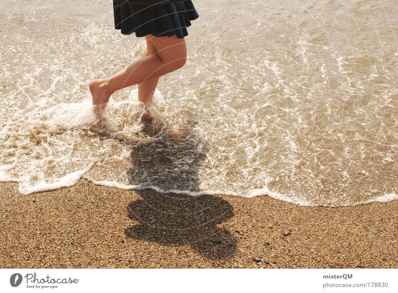 Woman Beach Vacation & Travel Life Relaxation Emotions Freedom Feet Sand Legs Waves Walking Wet Esthetic Water