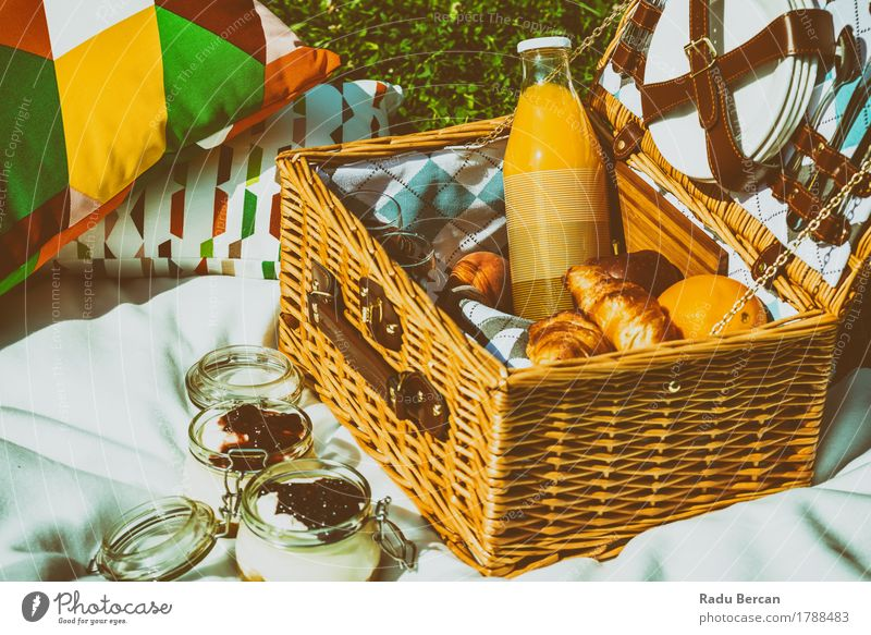 Picnic Basket With Fruits And Jam Cheesecake Food Orange Croissant Nutrition Eating Breakfast Lunch Organic produce Juice Crockery Plate Bottle Cutlery