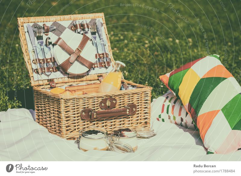 Picnic Basket Food On Summer Day Dairy Products Fruit Orange Jam Nutrition Eating Breakfast Lunch Juice Plate Cutlery Knives Fork Spoon Relaxation