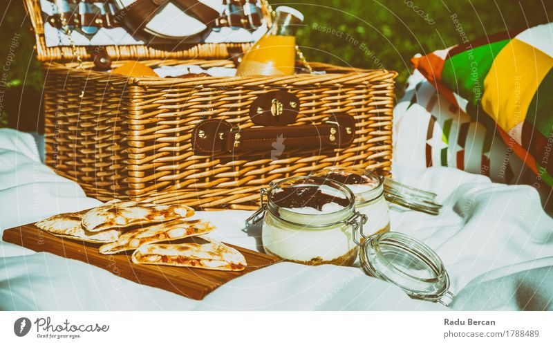 Picnic Basket, Quesadilla And Blueberry Jam Cheesecake Nature Vacation & Travel Summer White Relaxation Eating Food Orange Park Leisure and hobbies Nutrition