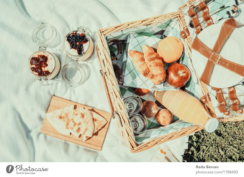 Picnic With Fruits, Orange Juice, Quesadilla And Cheesecake Nature Vacation & Travel Summer Green White Relaxation Eating Spring Grass Healthy Food Park