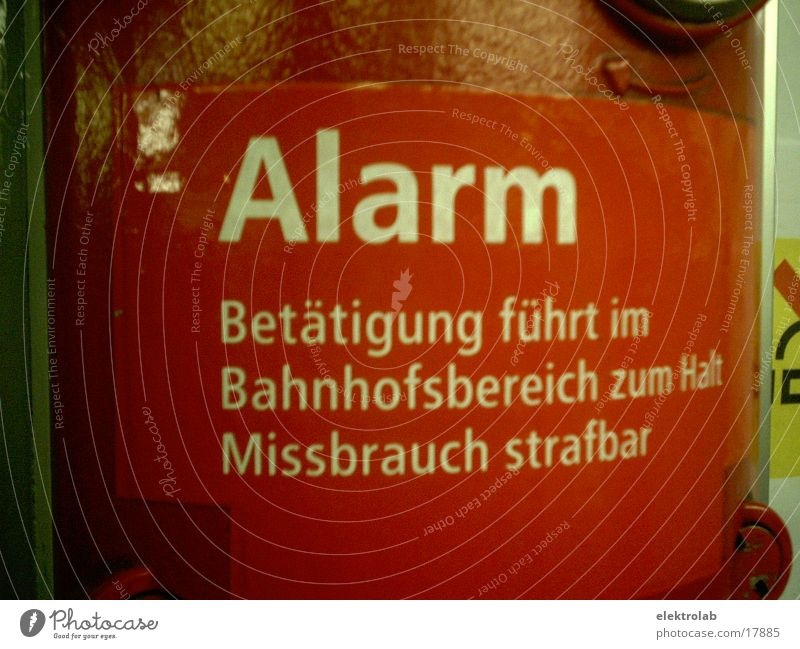 alarm Underground Red Warning signal Alarm Abuse Transport punishable