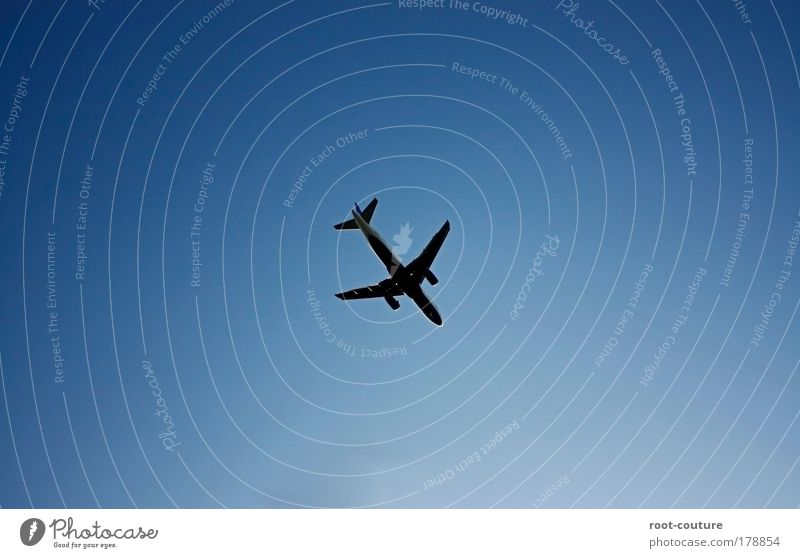 The [flight] and all that [stuff] Sky Summer Beautiful weather Aviation Airplane Passenger plane Metal Road sign Vacation & Travel Tall Blue Anticipation