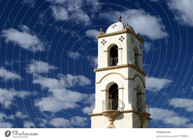 Ojai Tower Colour photo Exterior shot Deserted Copy Space left Day Upward Vacation & Travel Culture Sky Clouds Church Building Architecture Old Historic Blue
