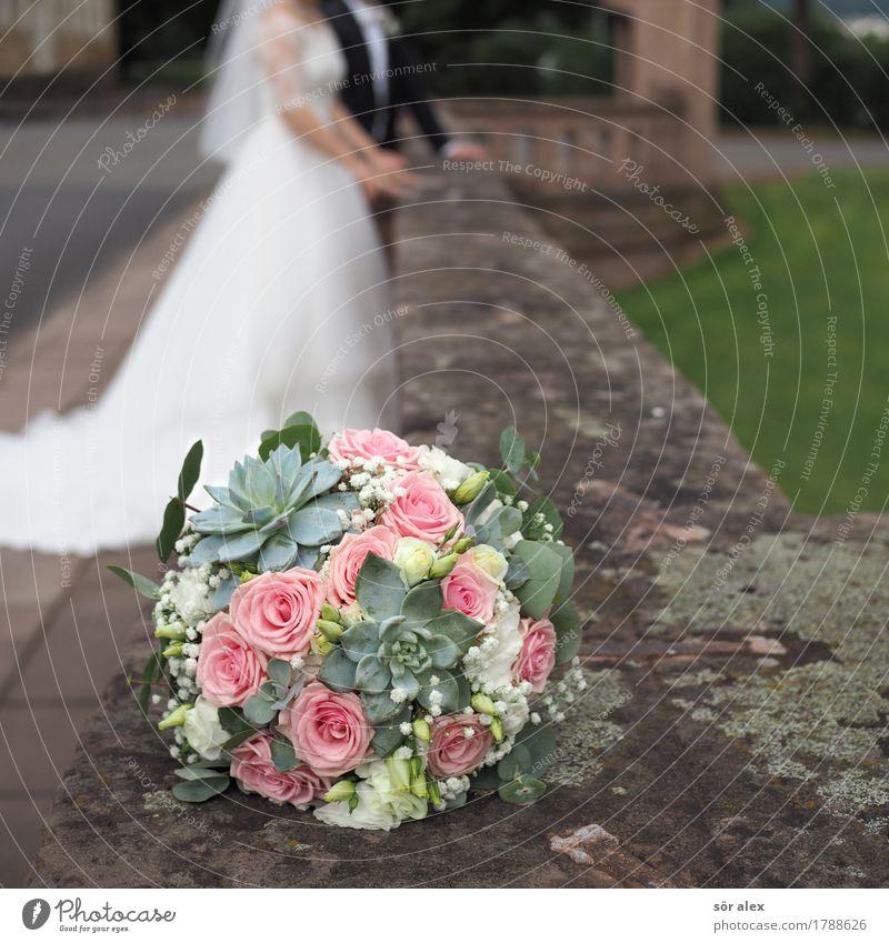 deco Human being Masculine Feminine Woman Adults Man Couple Partner Life 2 Flower Bouquet Wall (barrier) Wedding dress Happy Positive Emotions