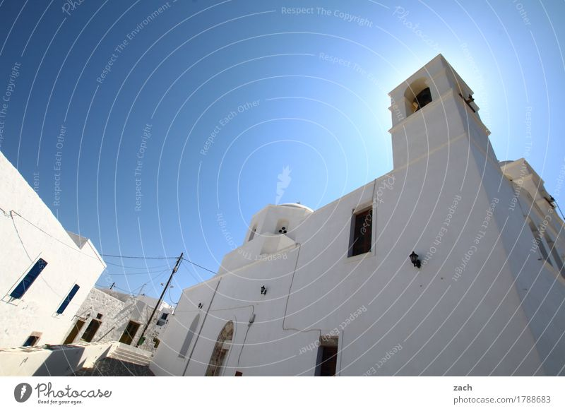 Blue White Ocean House (Residential Structure) Window Wall (building) Religion and faith Wall (barrier) Facade Door Church Island Places Beautiful weather