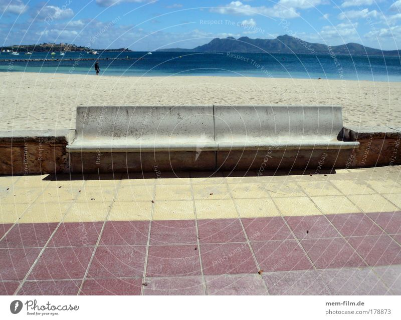 Ocean Blue Red Summer Beach Vacation & Travel Yellow Stone Concrete Break Bench Sidewalk Spain Majorca Promenade South