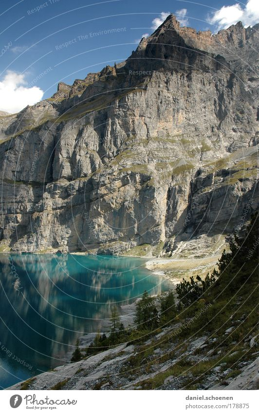 Nature Vacation & Travel Relaxation Landscape Mountain Freedom Lanes & trails Lake Climbing Alps Beautiful weather Peak Switzerland Discover Mountaineering Body of water