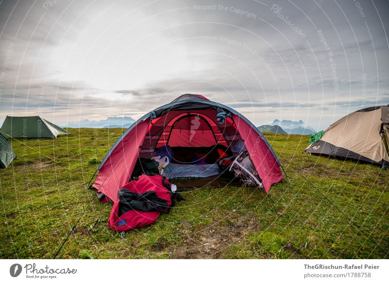 tent arrangement Environment Nature Landscape Blue Gray Green Red Tent Sleep Protection Meadow Grass Mountain Sky Domicile Camping Structures and shapes Tighten