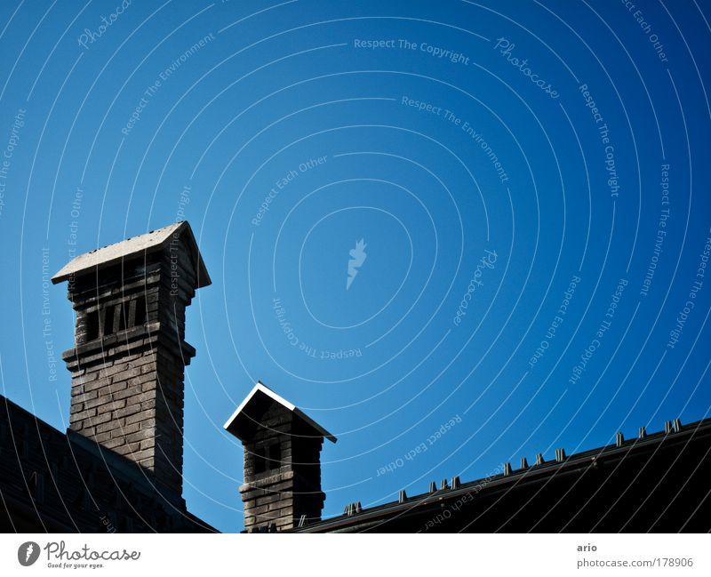 Blue House (Residential Structure) Architecture Roof Village Chimney Cloudless sky