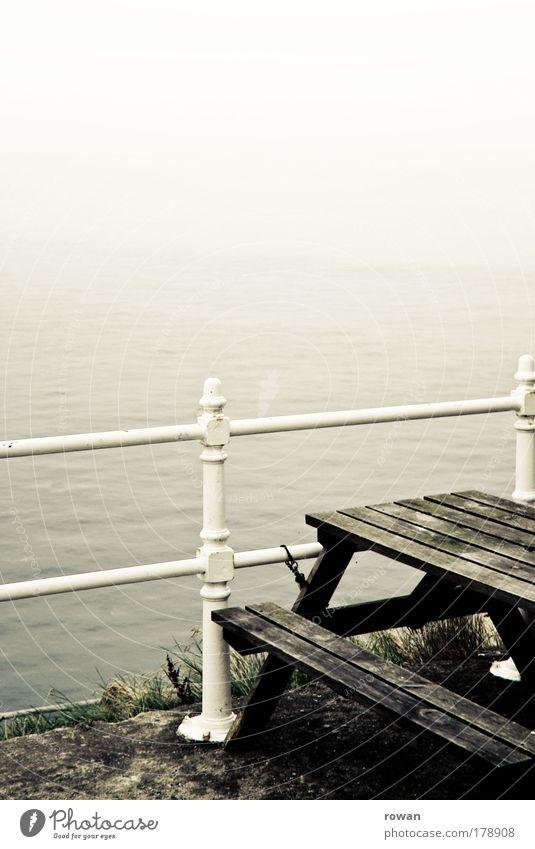 Water Old White Ocean Dark Cold Autumn Coast Fog Table Vantage point Lakeside Storm Handrail North Sea Mystic