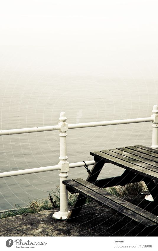 Water Old White Ocean Dark Cold Autumn Coast Fog Table Vantage point Lakeside Storm Handrail North Sea Mystic