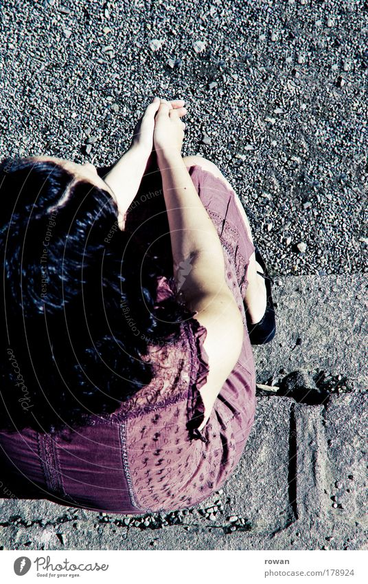 Woman Human being Sun Calm Adults Feminine Gray Warmth Think Sit Wait Retro Dress Violet Young woman Expectation