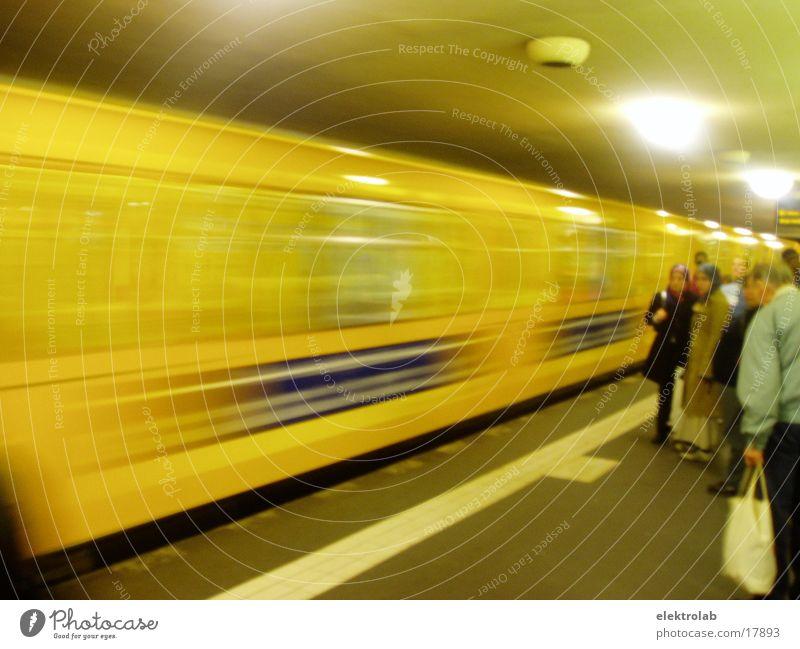 waiting for a train Underground Subsoil Platform Transport Berlin Railroad Orange motion Movement