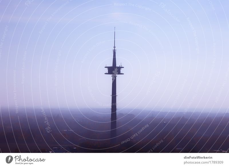 radio tower Sun Telecommunications Environment Landscape Air Sky Autumn Weather Beautiful weather Moers Germany Europe Town Tower Manmade structures