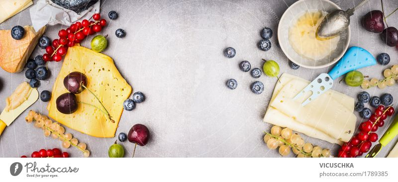 Various cheeses with berries and honey Food Cheese Dairy Products Fruit Dessert Jam Nutrition Breakfast Organic produce Crockery Knives Style Design