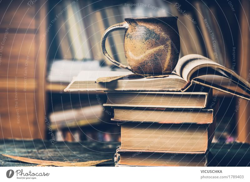 Life Lifestyle Style Design Living or residing Open Retro Table Book Study Beverage Coffee Education Hot Tea Vintage