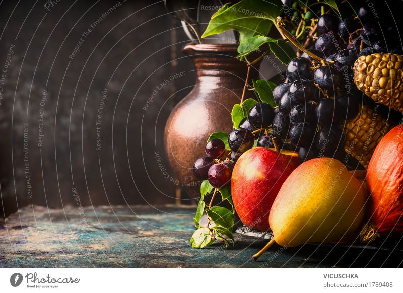 Healthy Eating Dark Food photograph Life Interior design Autumn Lifestyle Style Design Flat (apartment) Fruit Living or residing Nutrition Table
