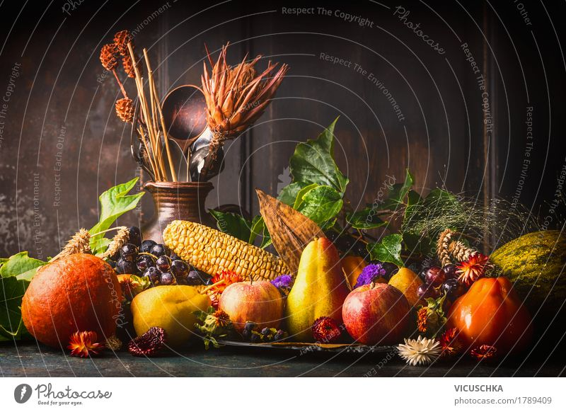 Various autumn fruits and vegetables on the kitchen table Food Vegetable Fruit Apple Grain Nutrition Organic produce Vegetarian diet Diet Crockery Style Design