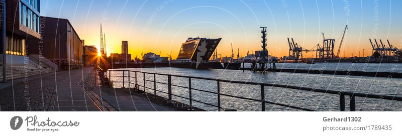 Panorama of the port of Hamburg in the back light of the morning sun Leisure and hobbies Vacation & Travel Sightseeing City trip Water Sunrise Sunset Sunlight