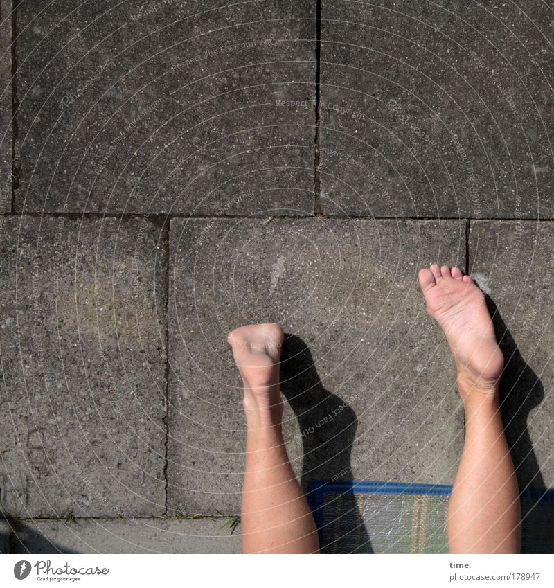 Summer in front of concrete Legs Feet Lie Garden Relaxation Concrete Concrete slab Floor mat rest Skin Playing Sole of the foot Seam To enjoy Copy Space top two