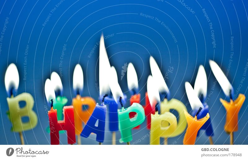 Happy Birthday Candle Hot Blue Multicoloured Emotions Moody Joy Happiness Contentment Anticipation Joie de vivre (Vitality) Desire Wax Fire annealing desire