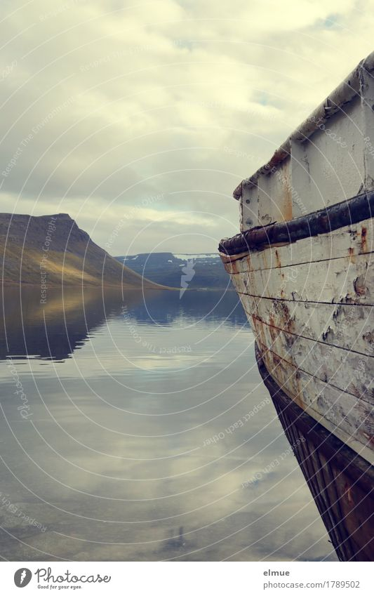 silent Vacation & Travel Trip Adventure Water Fjord Wood barge for apples Mirror image Lie Historic Broken Romance Serene Calm Belief Longing Wanderlust