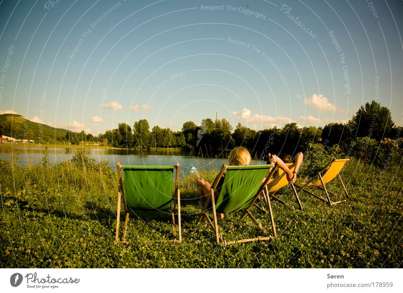 Human being Nature Youth (Young adults) Water Summer Adults Relaxation Landscape Happy Lake Park Friendship Trip Thuringia Tourism Infinity