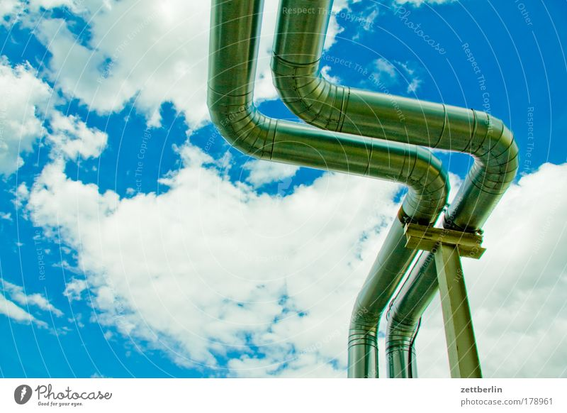 Gas Sky Summer Clouds Arrangement Corner Logistics Water Construction site Pipe Worm's-eye view Iron-pipe Oil Beautiful weather Column Pipeline