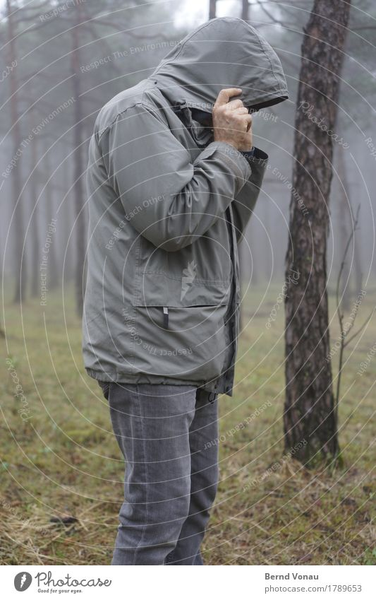 reluctantly Human being Masculine 1 45 - 60 years Adults Cold Weather Autumn Gray Forest Clothing Jacket Hooded (clothing) Weather protection Hide Pine