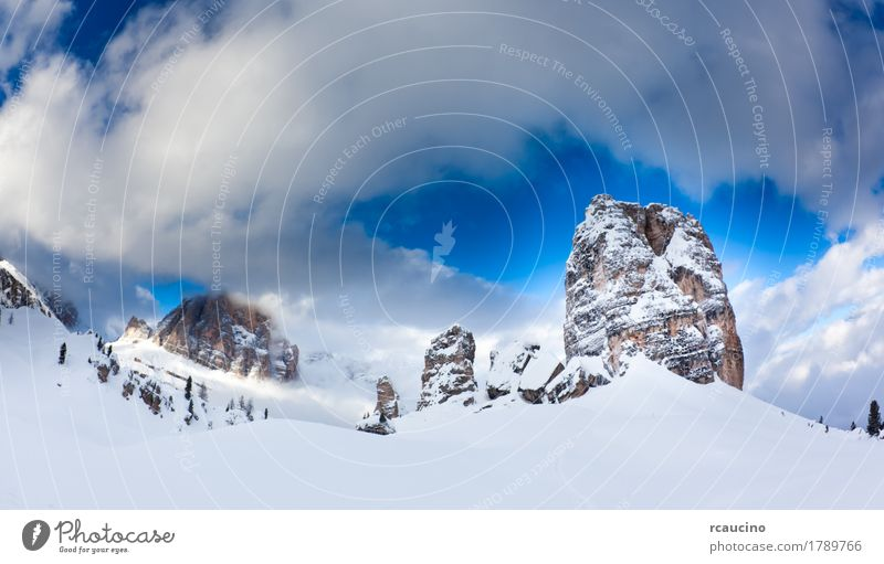 Dolomiti, Italy: the beautiful famous 5 Torri Cortina Blue White Landscape Clouds Winter Mountain Snow Europe Peak Alps Top Horizontal Glacier Valley