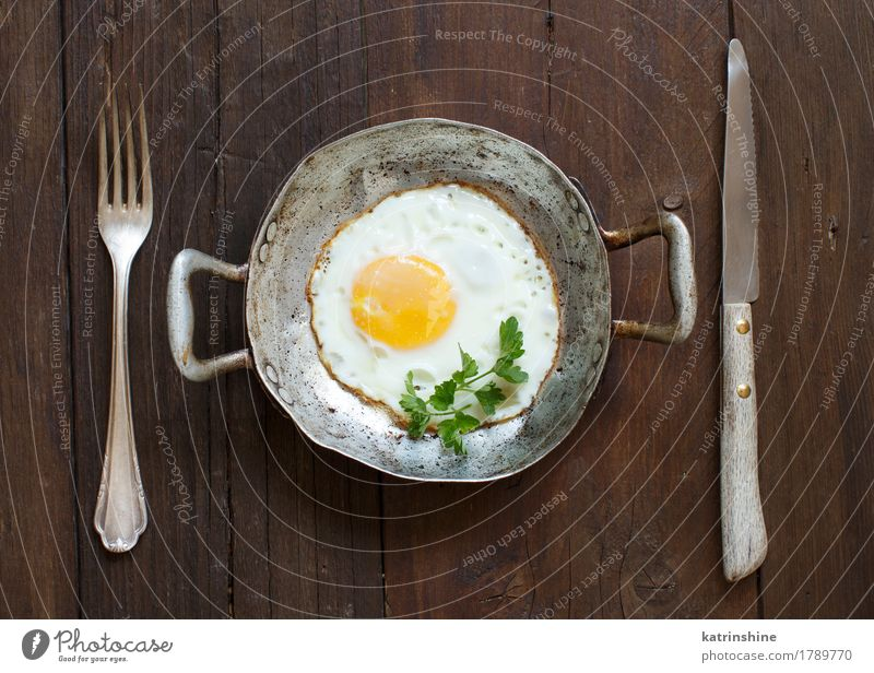 Fried egg in a old frying pan White Fresh Herbs and spices Cooking Farm Breakfast Meal Rustic Unhealthy Pan Protein Eggshell Cholesterol Frying