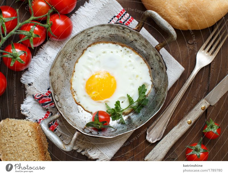Fried egg with tomatoes, homemade bread and herbs Bread Eating Breakfast Dinner Pan Table Wood Fresh Bright Yellow Green Red Cholesterol Frying Meal Protein